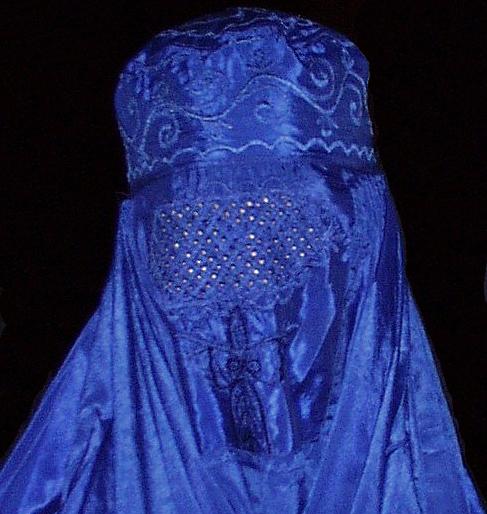 [Closeup of face of burqa]